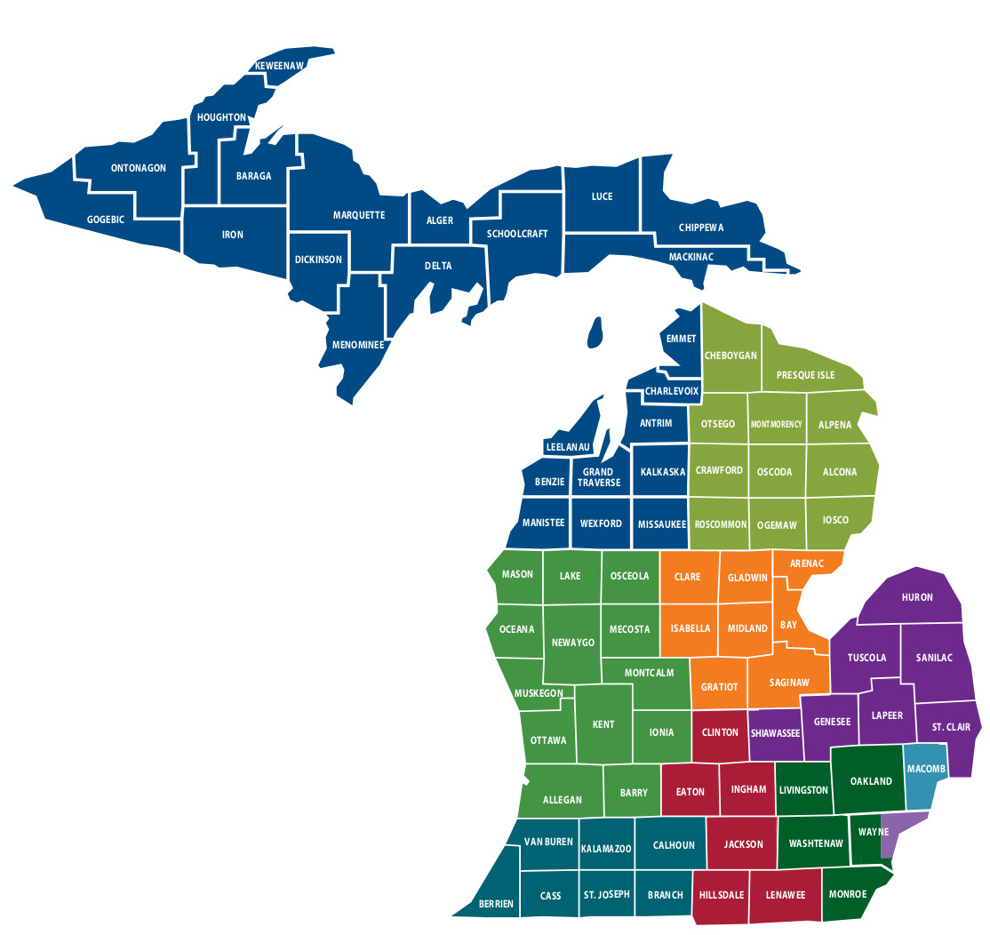 Offices PTACS Of Michigan - Michigan county map